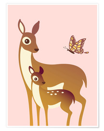 Póster  Mom And Baby Deer With Butterfly - Ashley Verkamp