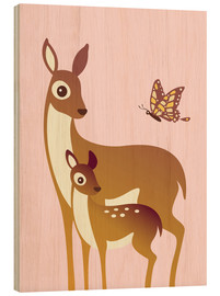 Cuadro de madera  Mom And Baby Deer With Butterfly - Ashley Verkamp