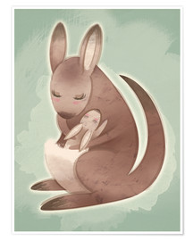 Póster  Mamma and baby kangaroo - Ashley Verkamp