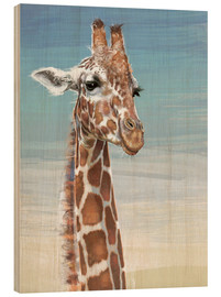 Cuadro de madera  Giraffe Against A Blue Sky - Ashley Verkamp