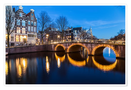 Póster  Amsterdam Bridges at night - Mike Clegg Photography