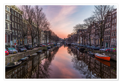 Póster Amsterdam Canals at Sunrise
