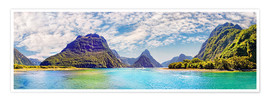Póster Milford Sound Panorama New Zealand