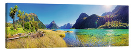 Lienzo  Milford Sound with palms New Zealand - Michael Rucker