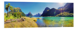 Cuadro de PVC  Milford Sound with palms New Zealand - Michael Rucker