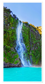 Póster  New Zealand Milford Sound Stirling Falls - Michael Rucker