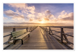 Póster  Beach path in St. Peter Ording North Sea - Dennis Stracke