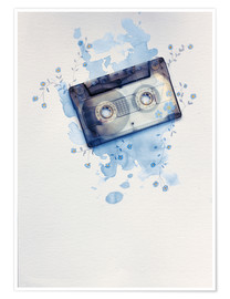 Póster Music tape with flowers and watercolour wash