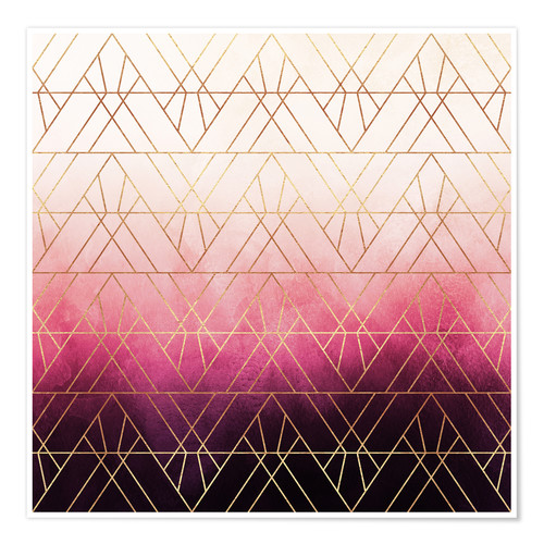 Póster Pink Ombre Triangles