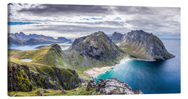 Lienzo  Kvalvika Bay on Lofoten Islands, Norway - Sascha Kilmer