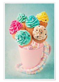Póster  Colorful cupcake pops on blue background - Elena Schweitzer