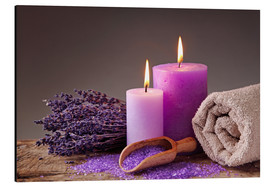 Aluminio-Dibond  Spa still life with candles and lavender - Elena Schweitzer