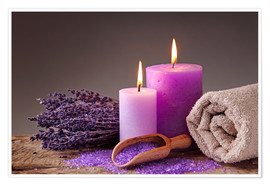 Póster Spa still life with candles and lavender