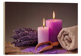 Cuadro de madera  Spa still life with candles and lavender - Elena Schweitzer