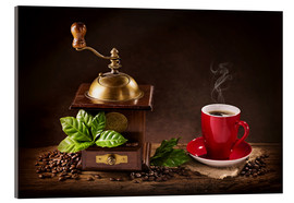 Metacrilato  Coffee mill with beans and green leaves and a cup of coffee - Elena Schweitzer