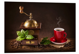 Cuadro de PVC  Coffee mill with beans and green leaves and a cup of coffee - Elena Schweitzer