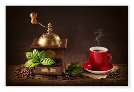 Póster  Coffee mill with beans and green leaves and a cup of coffee - Elena Schweitzer