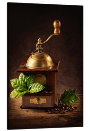 Cuadro de aluminio  Coffee mill with beans and green leaves and a cup of coffee - Elena Schweitzer