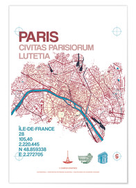 Póster Paris city map