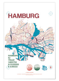 Póster  Mapa de Hamburgo - campus graphics
