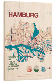 Madera  Mapa de Hamburgo - campus graphics