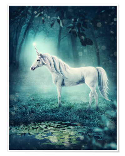 Póster Unicorn in the magic forest