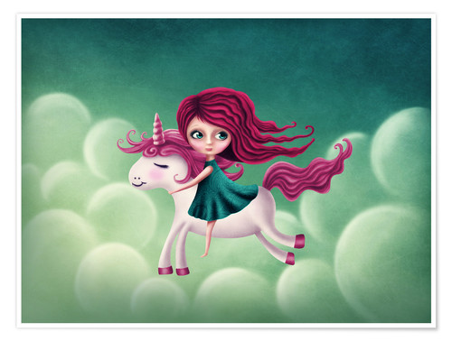 Póster Illustration with a unicorn with a girl