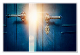Póster Open blue door and sunshine