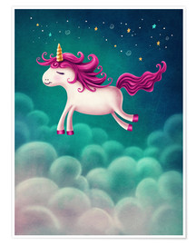Póster Unicorn and stars
