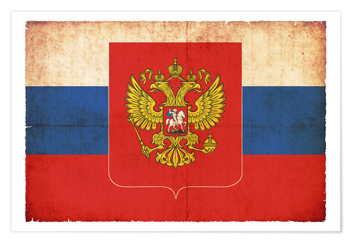 Póster Old flag of Russia with coat of arms in grunge style