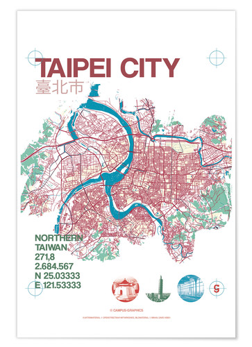 Póster Taipei City Map