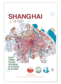 Póster Shanghai city map