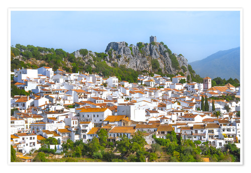 Póster White Town with mountain scenery