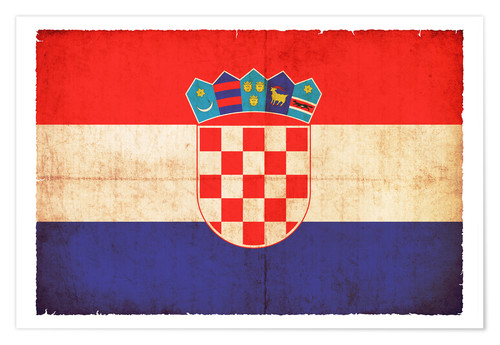 Póster Old flag of Croatia in grunge style