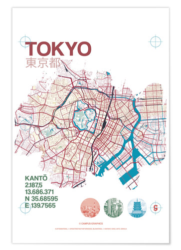 Póster Tokyo city map