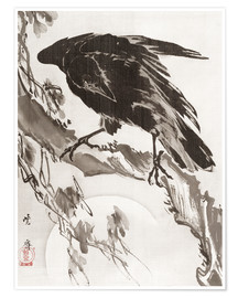 Póster  Crow and the Moon - Kawanabe Kyosai