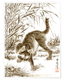 Póster  Cat Catching a Frog - Kawanabe Kyosai