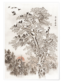 Póster  Flock of Crows at Dawn - Kawanabe Kyosai