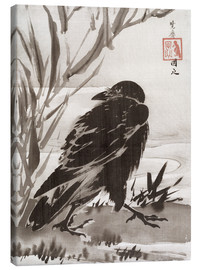 Lienzo  Crow and Reeds by a Stream - Kawanabe Kyosai
