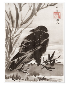 Póster  Crow and Reeds by a Stream - Kawanabe Kyosai