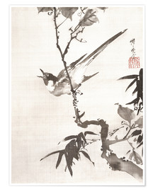 Póster  Singing Bird on a Branch - Kawanabe Kyosai