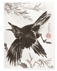 Póster  Crow and Willow Tree - Kawanabe Kyosai