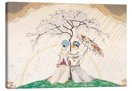 Lienzo  Two women sheltering from the rain, under a tree - Georges Barbier