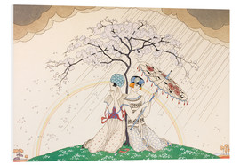 Cuadro de PVC  Two women sheltering from the rain, under a tree - Georges Barbier