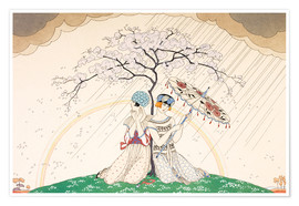 Póster  Two women sheltering from the rain, under a tree - Georges Barbier