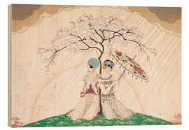 Cuadro de madera  Two women sheltering from the rain, under a tree - Georges Barbier