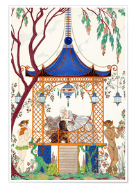 Póster  A man and woman in a pavillion - Georges Barbier
