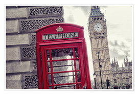 Póster London red telephone cell with Big Ben