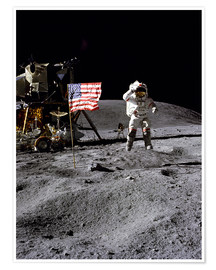 Póster  Astronaut of the 10th manned mission Apollo 16 on the moon