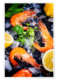 Tiger Shrimps on Ice with lemon and herbs